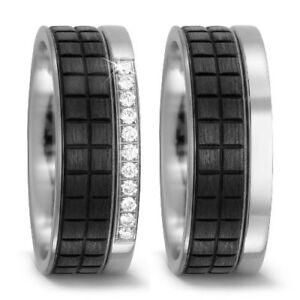 paar trauring ehering verlobungsring ringe aus titan carbon mit brillant diamant ebay. Black Bedroom Furniture Sets. Home Design Ideas
