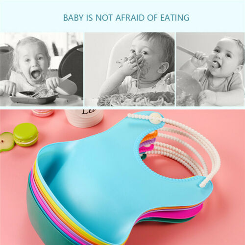 Cute Baby Soft Silicone Bib Waterproof Saliva Dripping Kid Infant Lunch Bibs US