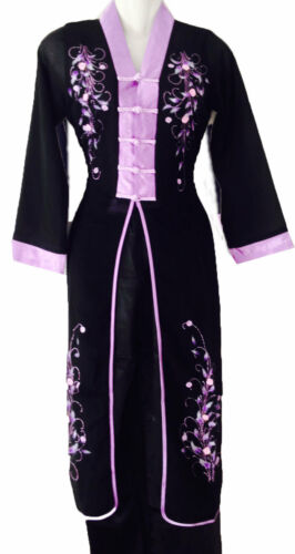 Vêtement asiatique Ao dai Vietnam Chinois Japon Noir Mauve taille 36  44 46  46