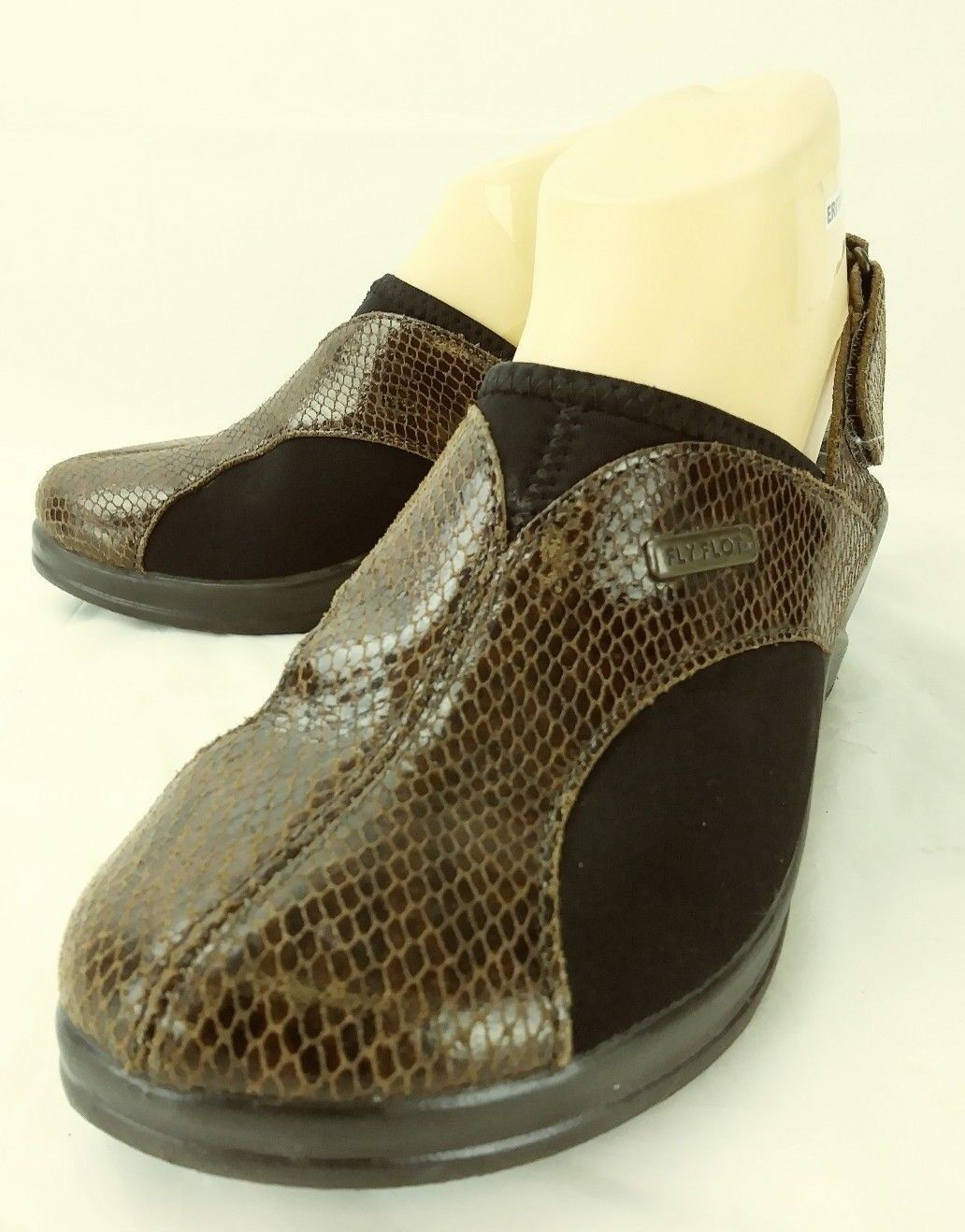 Fly Flot Wos shoes EU38 US7 Snake Print Brown Leather Black Slingback Wedge 5211