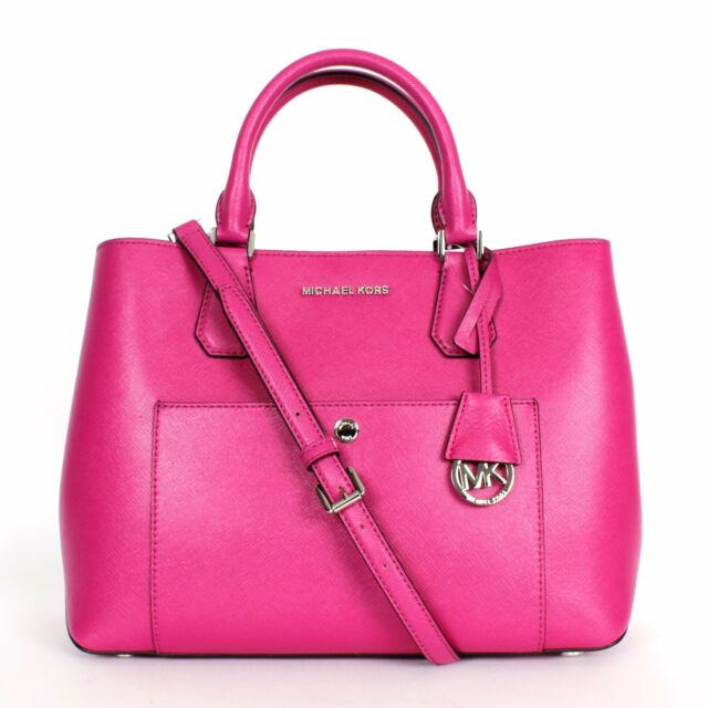 Michael Kors Fuschia Luggage Large Greenwich Leather Tote Grab Bag Purse