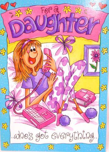 """Humoristique /""""pour une fille qui a tout/"""" HAPPY BIRTHDAY CARD"""