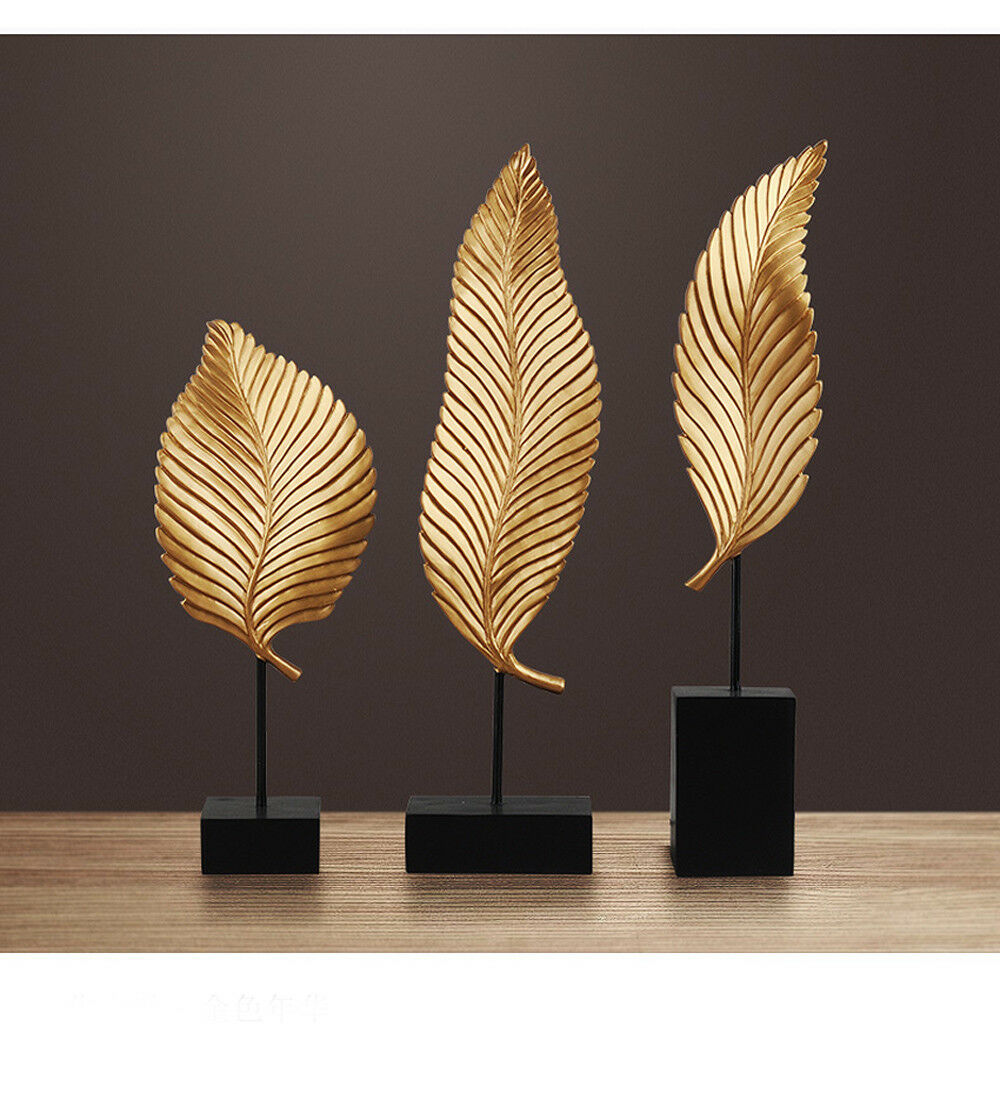 E626 3 PCS oren Leaf Figurine Living Room Bedroom Wedding Desktop Decor Gift Z