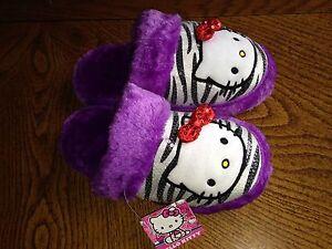 Nwt hello kitty zebra sequin purple plush slippers size s