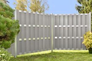 Sichtschutz Wpc 180x180cm Grau Aluminium Zaunelemente Winschutz