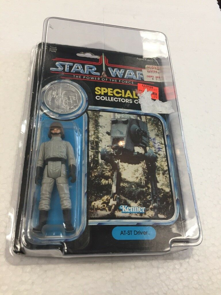 1984 Kenner Star Wars The Power of the Force AT-ST DRIVER with special collector