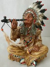 INDIAN CHIEF WITH PEACE PIPE NATIVE AMERICAN INDIAN STYLE ORNAMENT 26cm /10 inch