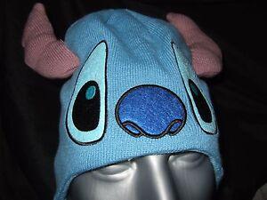 Cute-NWT-Blue-Disney-Lilo-And-Stitch-Face-Laplander-Space-Alien-Beanie-Ears-Hat
