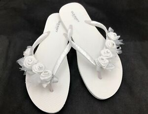 86d6eab4e White Bridal Flip Flops Flower Girl Flip Flops Wedding Flip Flops ...