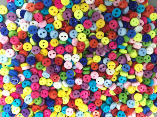DIY 500pcs Mixed Colors Mini Resin Round Buttons 2-holes sewing 6mm DIY