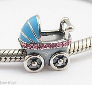 Baby Shower Carriage Charm Bead Sterling Silver 925 For