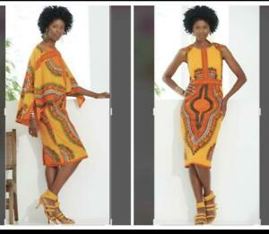 100-Cotton-African-Print-Vacation-Cape-Dress-size-10-Ashro-Holiday-Church-Suit