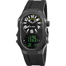 Philip Stein Men's Signature Dual Time Black Silicone Strap Watch 3BRBADRB
