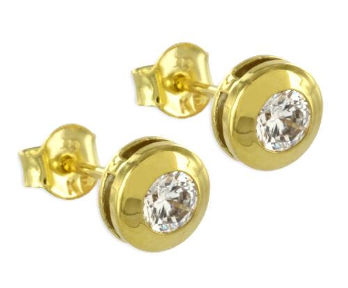 ECHT GOLD *** Zirkonia Ohrstecker 7 mm