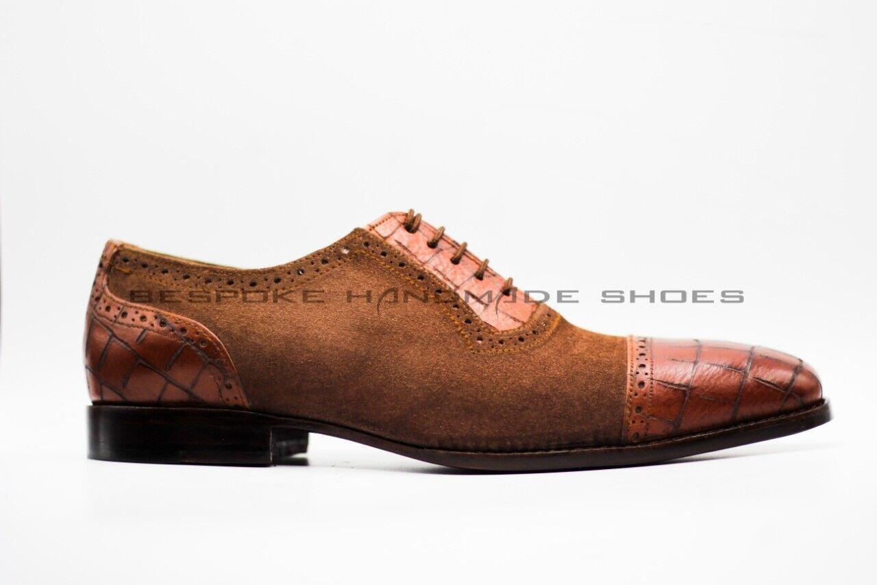 Hombre CUERO GENUINO BECERRO HECHO A MANO & Gamuza Puntera De Impresión De Cocodrilo Con Cordones Zapato