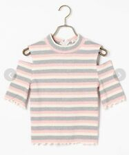 Liz Lisa Shoulderless Striped Cutout Top Pink Japan One Size