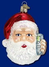 CELL PHONE SANTA CLAUS OLD WORLD CHRISTMAS BLOWN GLASS TEXTING ORNAMENT 40140