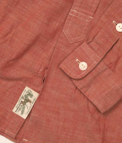 POLO RALPH LAUREN WASHED BLUE RED GREEN CHAMBRAY CUSTOM FIT WORK SHIRT $145+