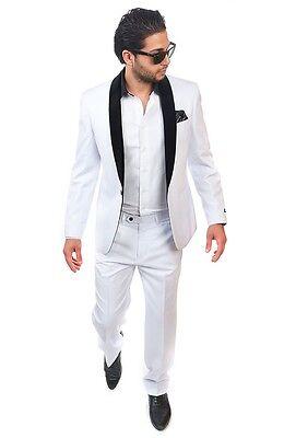 Slim Fit Men Shawl 1 Button Velvet Lapel White Tuxedo / Fashion Suit By AZAR MAN