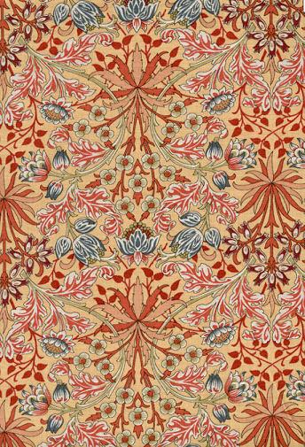 Rare Arts Crafts ROSE & HUBBLE Art Nouveau William Morris Fabric HYACINTH Peach