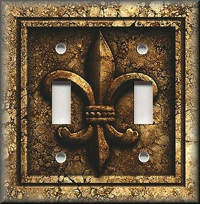 Metal Light Switch Plate Cover - French Fleur De Lis Decor Aged Stone Brown