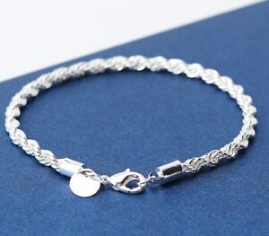 925-Sterling-Silver-Women-039-s-4mm-Rope-Bracelet-Bangle-Gift-Pouch-D184