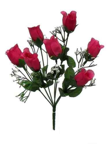 7 Roses Buds FUCHSIA PINK Wedding Bouquet Centerpieces Bridal Silk Flowers