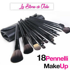 Offerta Set Professionale 18 Pennelli Make up Trucco + Custodia di Pelle Kit