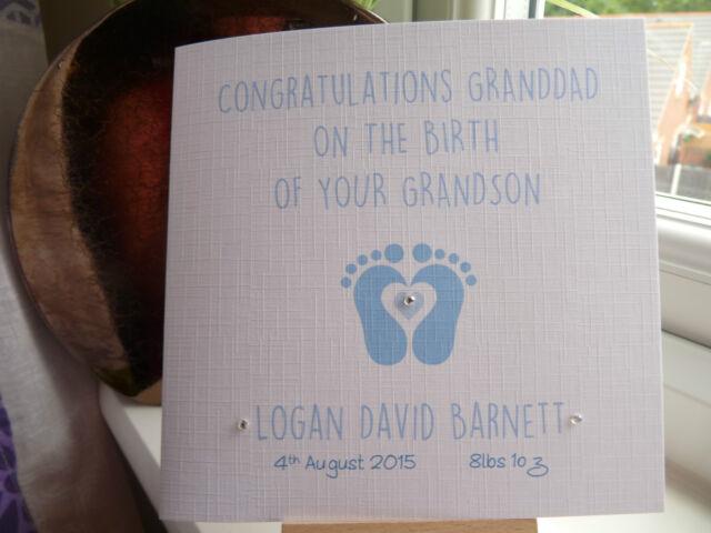 Handmade Personalised New Baby Girl Boy Birth Card Grandad Grandparents Nana