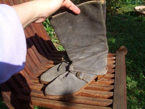 Vero N°38 Genuine blu Stivali Boots Camoscio Chamois Leather Grigio d6gw6qA