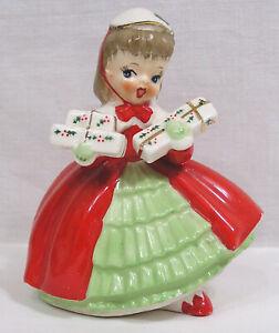 Vintage NAPCO Christmas Shopper Lady Girl Planter Holds Gifts 1956 Japan X1690PB