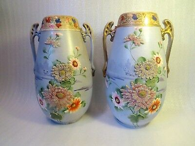 Lg Pr Antique Moriage Japanese Vase Beaded Flowers Urn Japan