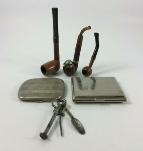 LOT 3 PIPES 2 PORTES CIGARETTES 1 CURE PIPE OSA ARGENT STERLING BRUYERE H1112