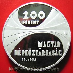 1975-HUNGARY-200-FORINT-SILVER-PROOF-SCIENCE-ACADEMY-HUNGARIAN-COIN-CROWN-37mm