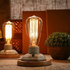 Vintage Table Lamp Edison Bulb Ceramic/Wood table Bedside Lamp Desk light dimmab