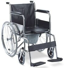 3-in-1 Folding Mobile Shower Commode Wheelchair With Padded Seat Commode Bucket
