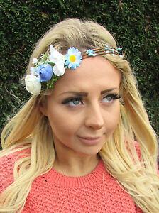 Blue Ivory White Daisy Rose Flower Garland Headband Hair Crown