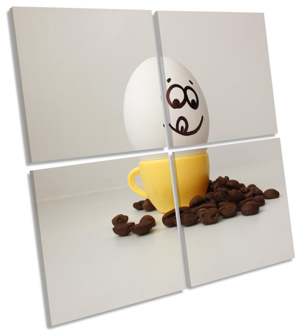 Funny Egg Cup Face Kitchen Picture MULTI CANVAS WALL ART Square