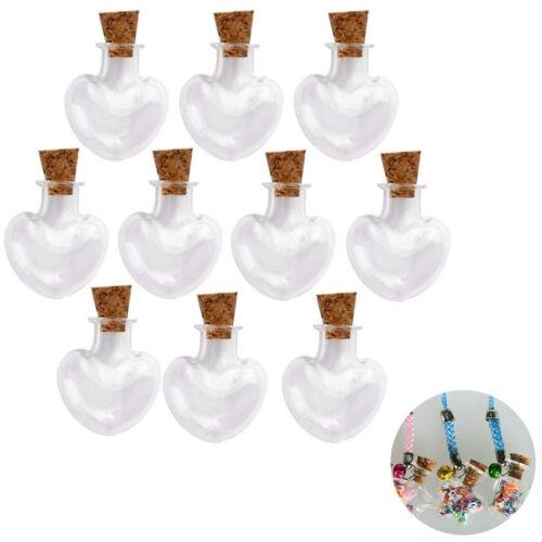 Mini Tarros De Vidrio de Forma de Corazón viales con tapones de corcho de botellas de los deseos 10 un