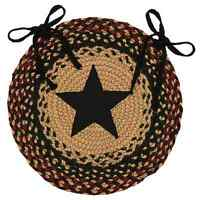 Primitive Tan Black Wine Round Braided Star Chair Pad Rug Jute Seat Cover