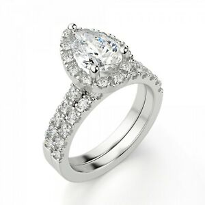 1.60 Ct Pear Cut Moissanite Engagement Band Set Solid 18K White Gold Ring Size 7