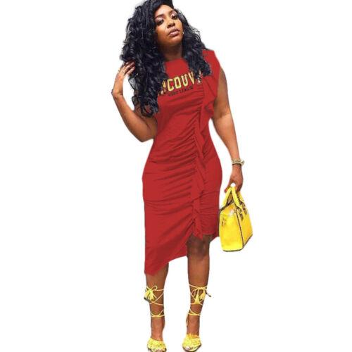 Women Fashion Sleeveless Letter Print Ruffled Bodycon Club Party Casual Dress