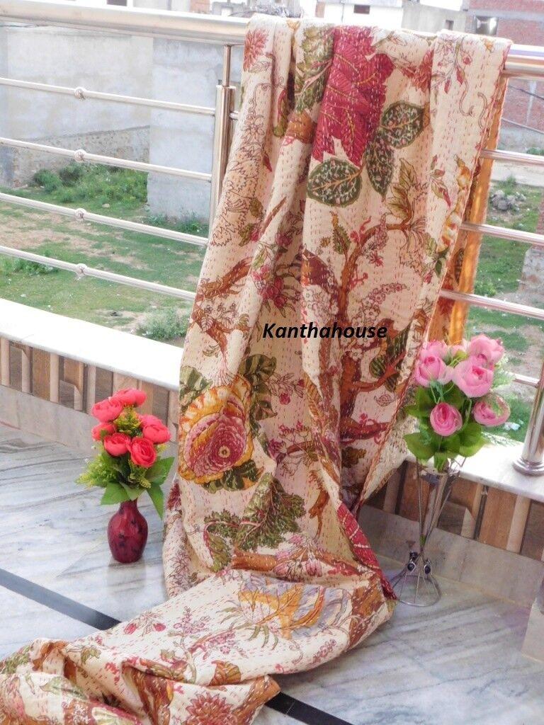 Indian Floral Kantha Quilt Cotton Bedding Bed Spread Queen Größe Gudri Blanket