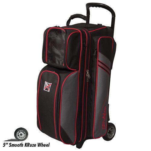 KR Strikeforce LR3 Triple Roller 3 Ball Bowling Bag Black//Silver//Red