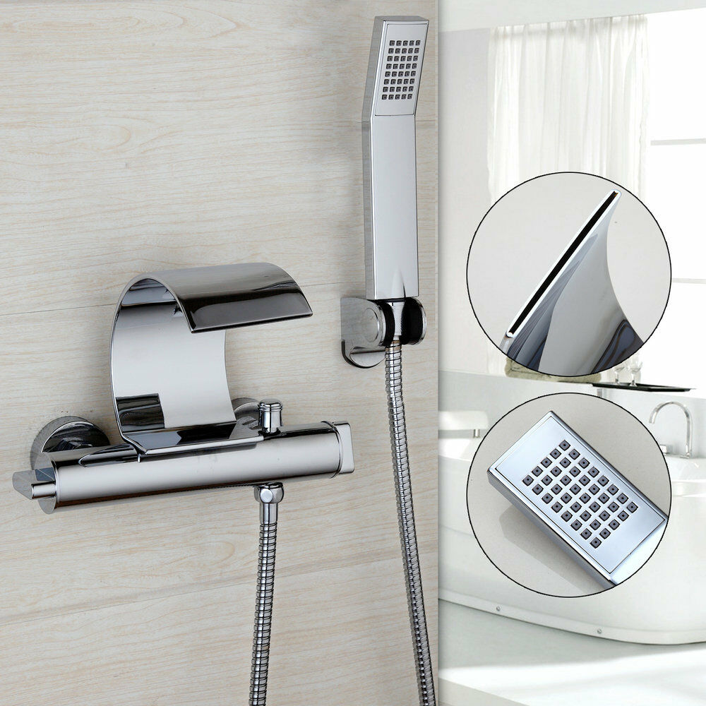 Wall Mounted Waterfall Tub Faucet With Hand Shower Chrome