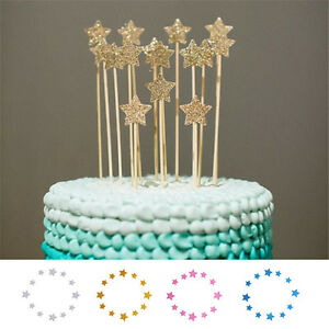 Image Is Loading 12pcs Star Shape Birthday Cake Topper Wedding Dessert