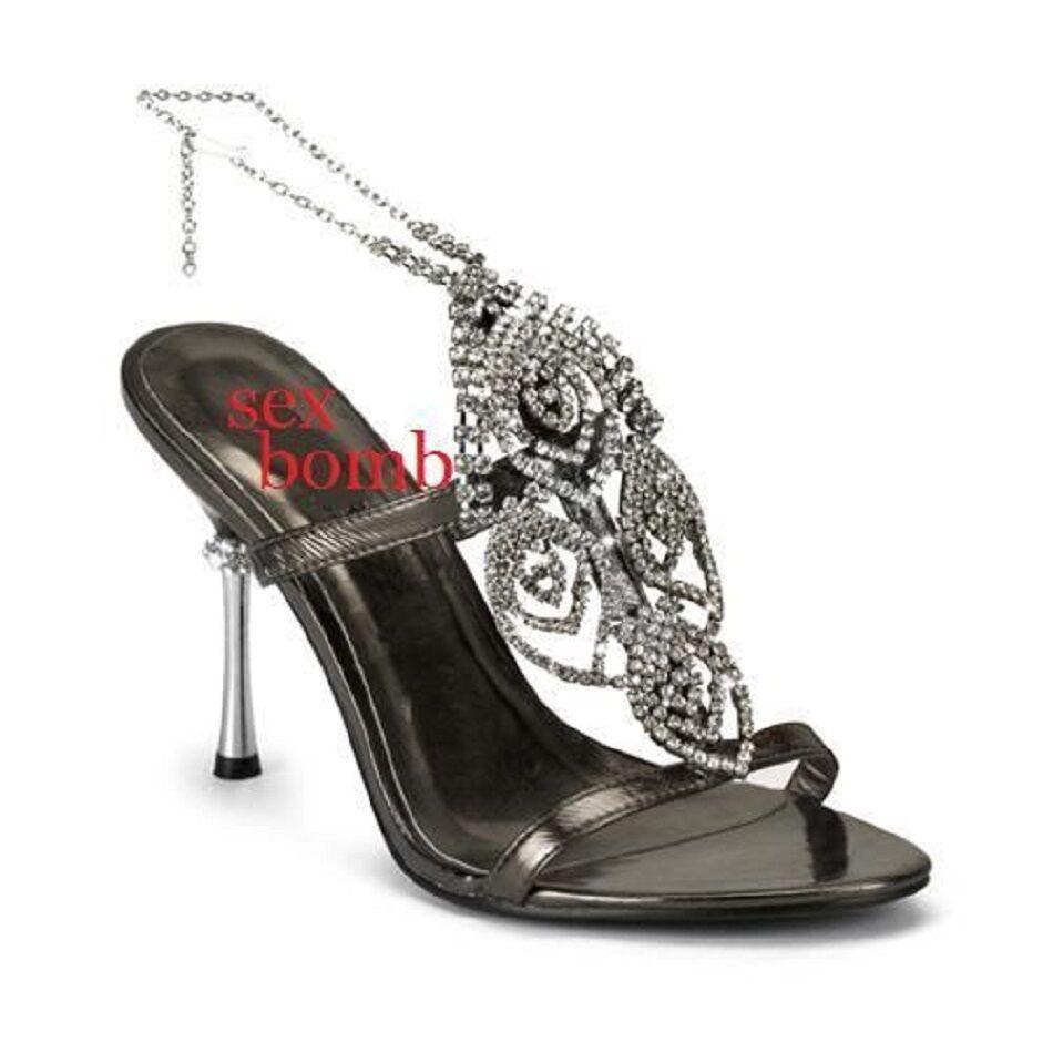 SEXY sandali n. gioiello Neri brillantini strass tacco 10 n. sandali 38 Fashion GLAMOUR f8be9f