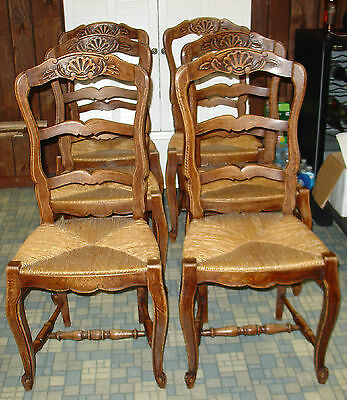 SALE 6 Antique Country French Wood Chair Dinning Room Normany Bistro