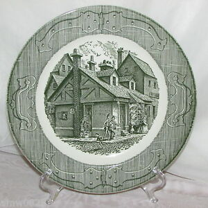 THE-OLD-CURIOSITY-SHOP-ROYAL-CHINA-DINNER-PLATE-GREEN-TRANSFER-PATTERN-VINTAGE