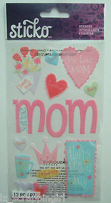 ~HAPPY MOTHER'S DAY~ Sticko Stickers EK Success; MOM, Hearts, Valentine's Day